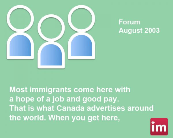 Canada Immigrants Forum August 2003